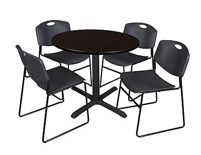 Regency 42-inch Laminate Round Table with Four Chairs, Mocha Walnut & Black