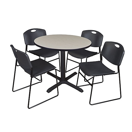Regency 42-inch Laminate Round Table with 4 Zeng Stack Chairs, Maple & Black