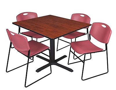 Regency 42-inch Square Laminate Cherry Table with 4 Zeng Stack Chairs, Burgundy