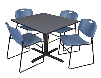 Regency 48-inch Square Laminate Table Cain Base with 4 Chairs, Gray & Blue