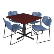 Regency 48-inch Laminate Square Table with 4 Chairs, Mahogany & Blue