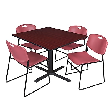 Regency 48-inch Laminate Square Table with 4 Chairs, Mahogany & Burgundy