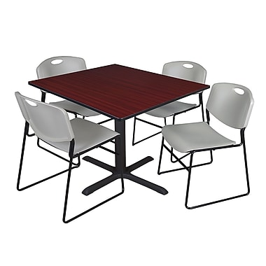 Regency 48-inch Laminate Square Table with 4 Chairs, Mahogany & Gray