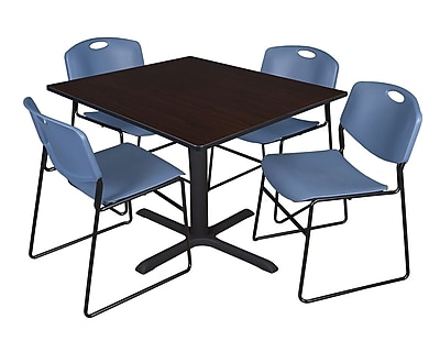 Regency 48-inch Laminate Square Table with 4 Zeng Stack Chairs, Mocha Walnut & Blue