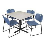 Regency 48-inch Laminate Square Table with Four Zeng Stack Chairs, Maple & Blue