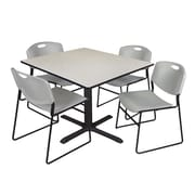 Regency 48-inch Laminate Square Table with Four Zeng Stack Chairs, Maple & Gray