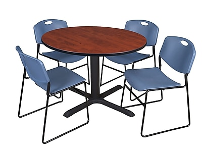 Regency 48-inch Round Cherry Table with Zeng Stack Chairs, Blue