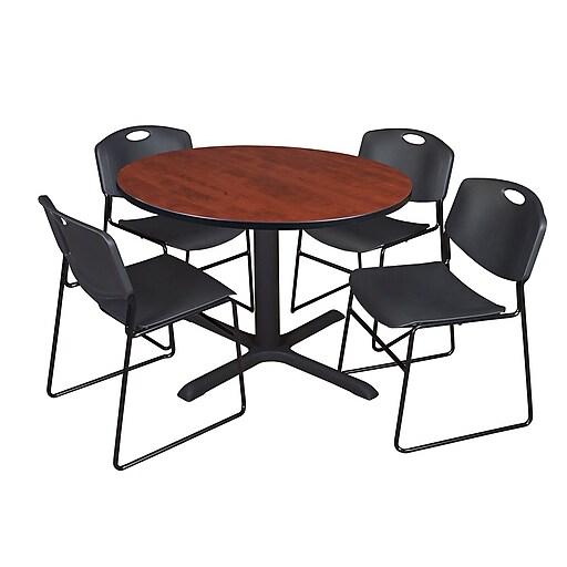 Regency Cain Breakroom Table, 48'W, Cherry & 4 Zeng Stack Chairs, Black (TB48RNDCH44BK)