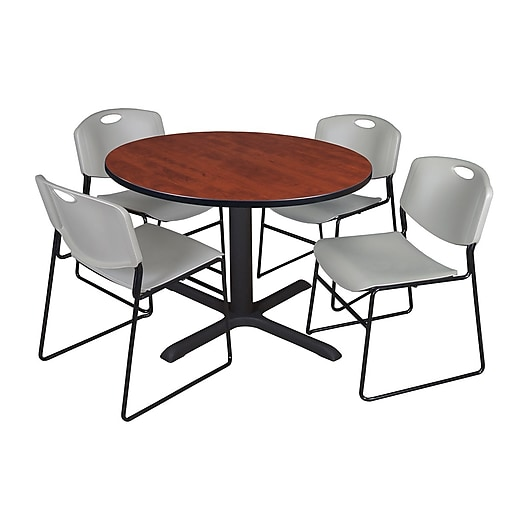 Regency 48-inch Round Cherry Table with Zeng Stack Chairs, Gray