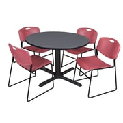 Regency 48-inch Round Laminate Table with 4 Zeng Stack Chairs, Burgundy