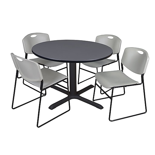 Regency 48-inch Round Laminate Table with 4 Zeng Stack Chairs, Gray