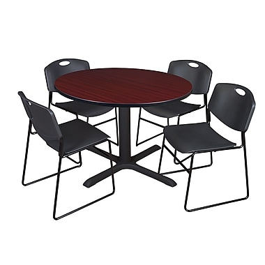 Regency 48-inch Round Mahogany Table with Zeng Stack Chairs, Black
