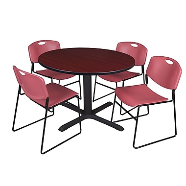 Regency 48-inch Round Mahogany Table with Zeng Stack Chairs, Burgundy