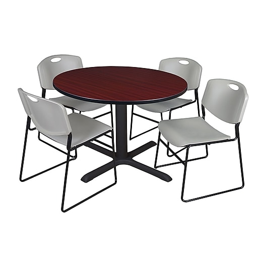 Regency 48-inch Round Mahogany Table with Zeng Stack Chairs, Gray