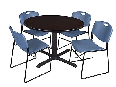 Regency 48-inch Round Mocha Walnut Table with Zeng Stack Chairs, Blue