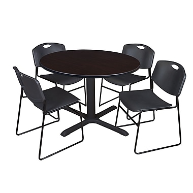 Regency 48-inch Round Mocha Walnut Table with Zeng Stack Chairs, Black