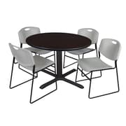 Regency 48-inch Round Mocha Walnut Table with Zeng Stack Chairs, Gray