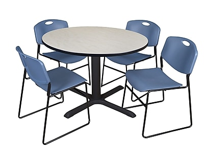 Regency 48-inch Round Laminate Maple Table with Zeng Stack Chairs, Blue