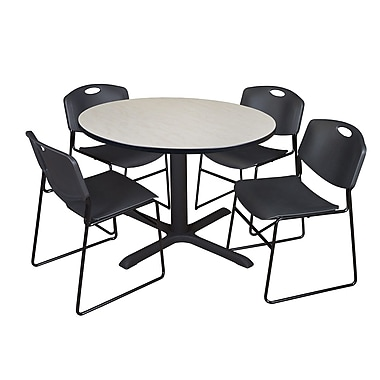 Regency 48-inch Round Laminate Maple Table with Zeng Stack Chairs, Black