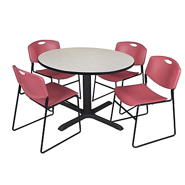 Regency 48-inch Round Laminate Maple Table with Zeng Stack Chairs, Burgundy