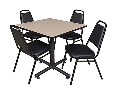 Regency 36-inch Square Laminate Table with 4 Restaurant Stack Chairs, Beige
