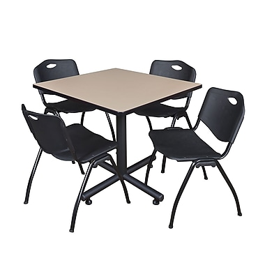 Regency 36-inch Square Laminate Beige Table with Stacker Chairs, Black