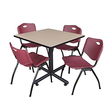 Regency 36-inch Square Laminate Beige Table with Stacker Chairs, Burgundy