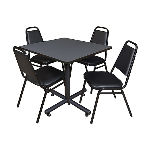 Regency 36-inch Square Laminate Table with 4 Restaurant Stack Chairs, Gray