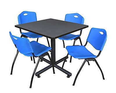 Regency 36-inch Training & Hospitality Square Laminate Table with Zeng Stacker Chairs, Blue