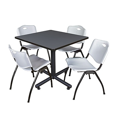Regency 36-inch Training & Hospitality Square Laminate Table with Zeng Stacker Chairs, Gray