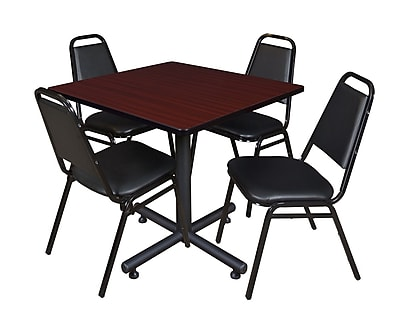 Regency 36-inch Square Laminate Table with 4 Restaurant Stack Chairs, Mahogany