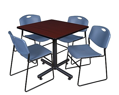 Regency 36-inch Square Laminate Table with 4 Zeng Stacker Chairs, Blue