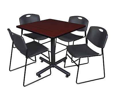 Regency 36-inch Square Laminate Table with 4 Zeng Stacker Chairs, Black
