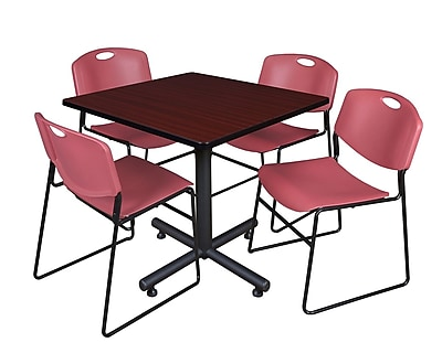 Regency 36-inch Square Laminate Table with 4 Zeng Stacker Chairs, Burgundy
