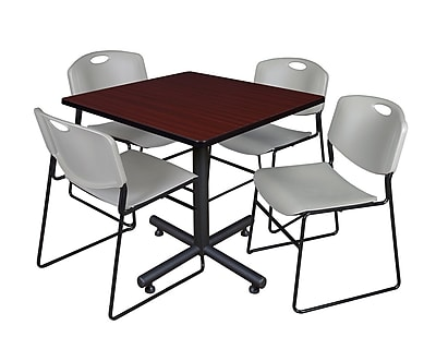 Regency 36-inch Square Laminate Table with 4 Zeng Stacker Chairs, Gray