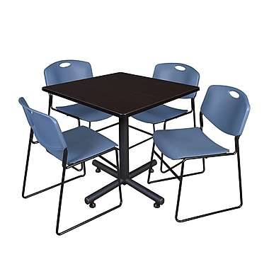 Regency 36-inch Square Table with Stacker Chairs, Blue