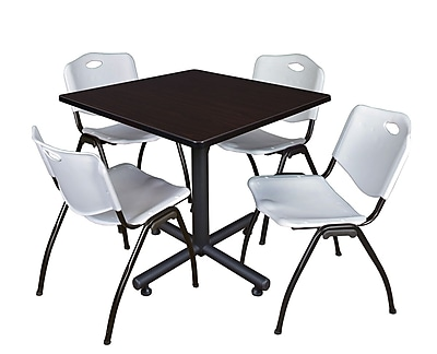 Regency 36-inch Training & Hospitality Square Laminate Table with Stacker Chairs, Gray