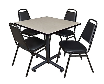 Regency 36-inch Square Laminate Table with 4 Restaurant Stack Chairs, Maple