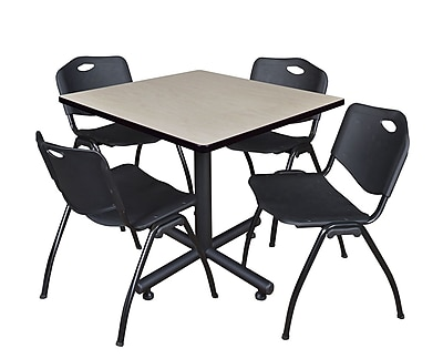 Regency 36-inch Square Laminate Table with Stacker Chairs, Black