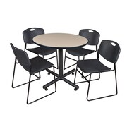 "Regency Kobe 36"" Round Break Room Table, Beige and 4 Zeng Stack Chairs, Black (TKB36RNDBE44BK)"