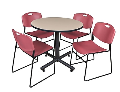 Regency 36-inch Round Laminate Table with Zeng Stacker Chairs, Burgundy