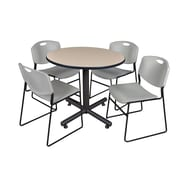 Regency 36-inch Round Laminate Table with Zeng Stacker Chairs, Gray