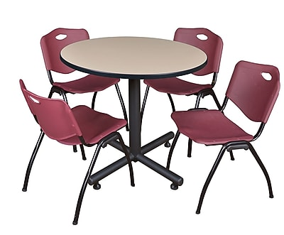 Regency 36-inch Round Laminate Table Beige with Stacker Chairs, Burgundy