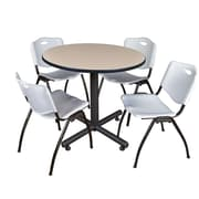 Regency 36-inch Round Laminate Table Beige with Stacker Chairs, Gray