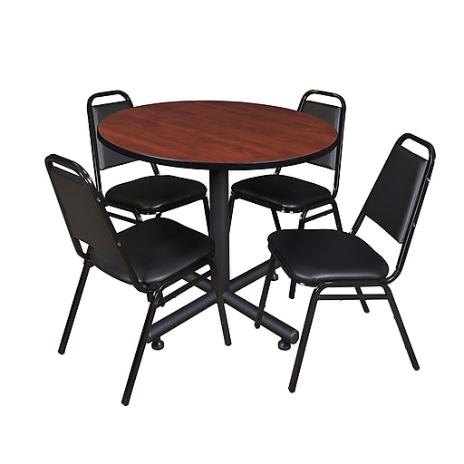 Regency 36-inch Round Laminate Table With 4 Restaurant Stack Chairs, Cherry