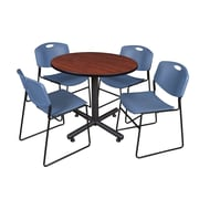 Regency 36-inchRound Laminate Cherry Table With 4 Zeng Stacker Chairs, Blue