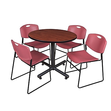 Regency 36-inch Round Laminate Cherry Table With 4 Zeng Stacker Chairs, Burgundy