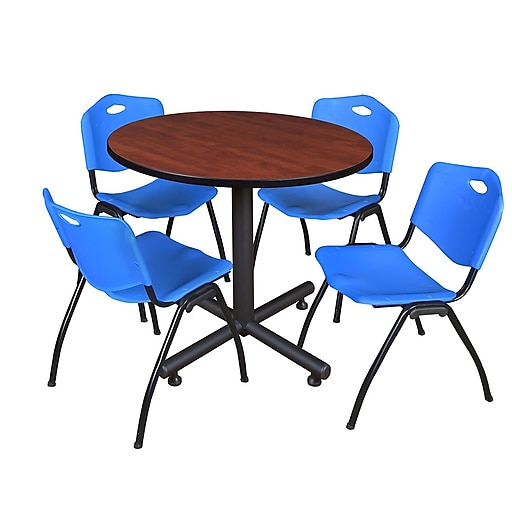 """Regency Kobe 36"""" Round Break Room Table, Cherry and 4 'M' Stack Chairs, Blue (TKB36RNDCH47BE)"""