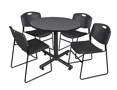 Regency 36-inch Round Laminate Grey Table With 4 Zeng Stacker Chairs, Black