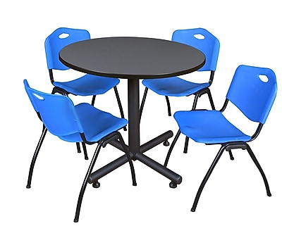 Regency 36-inch Round Laminate Grey Table with 4 M Stacker Chairs, Blue